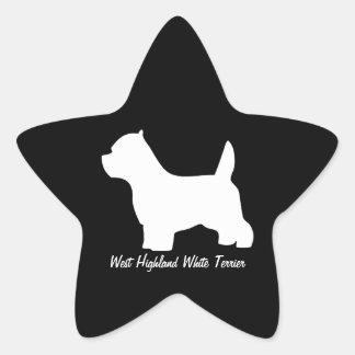 West Highland White terrier dog, westie silhouette Star Sticker