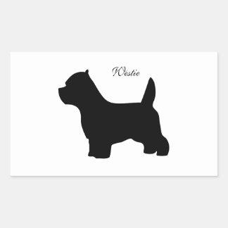 West Highland White terrier dog, westie silhouette Rectangular Sticker
