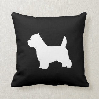 West Highland White Terrier dog, westie silhouette Throw Cushion