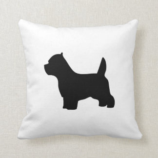 West Highland White Terrier dog, westie silhouette Throw Pillow