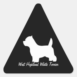 West Highland White terrier dog, westie silhouette Triangle Sticker