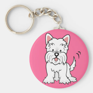 West Highland White Terrier Gifts and Merchandise Basic Round Button Key Ring