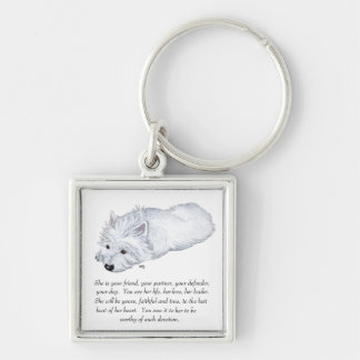 West Highland White Terrier Keepsake Silver-Colored Square Key Ring