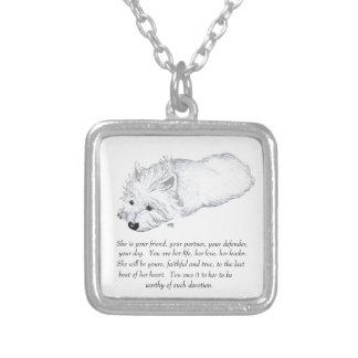 West Highland White Terrier Keepsake Square Pendant Necklace