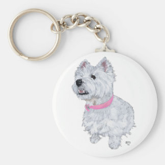 West Highland White Terrier Looking Up Keychain