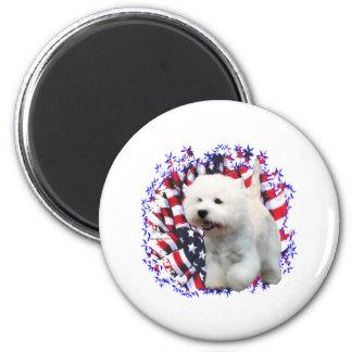West Highland White Terrier Patriot 6 Cm Round Magnet