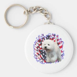 West Highland White Terrier Patriot Basic Round Button Key Ring