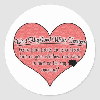 West Highland White Terrier Paw Prints Dog Humor Round Sticker