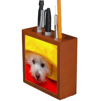 West Highland White Terrier peeking out of yellow Desk Organiser
