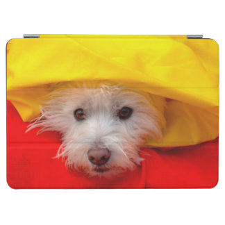 West Highland White Terrier peeking out of yellow iPad Air Cover