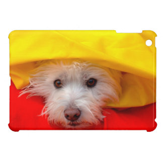 West Highland White Terrier peeking out of yellow iPad Mini Cover