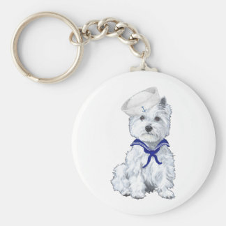 West Highland White Terrier Sailor Basic Round Button Key Ring