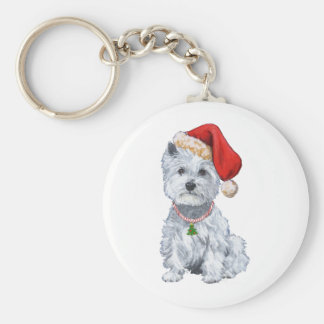 West Highland White Terrier Santa Claus Basic Round Button Key Ring