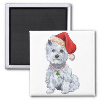 West Highland White Terrier Santa Claus Square Magnet