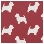 West Highland White Terrier Silhouettes Pattern Fabric