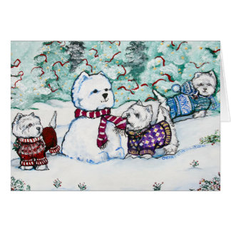 West Highland White Terrier Snowman Greeting Card
