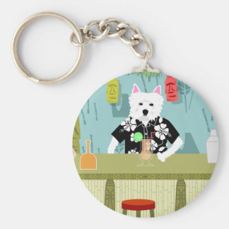 West Highland White Terrier Tiki Bar Basic Round Button Key Ring
