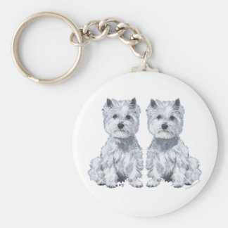 West Highland White Terrier Twins! Basic Round Button Key Ring