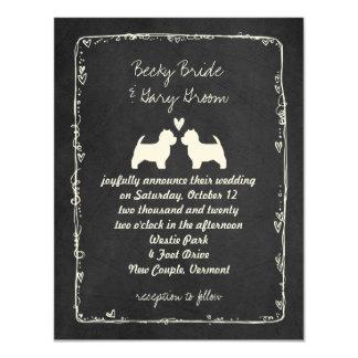 West Highland White Terrier Wedding 4.25x5.5 Paper Invitation Card