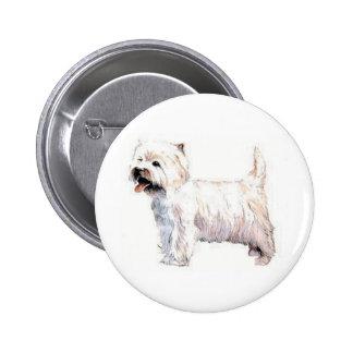 West Highland White Terrier Westie 6 Cm Round Badge
