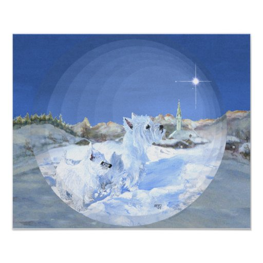 West Highland White Terrier Winter Night Poster