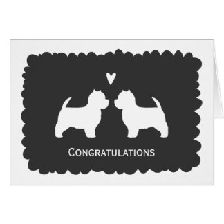 West Highland White Terriers Wedding Congrats Greeting Card
