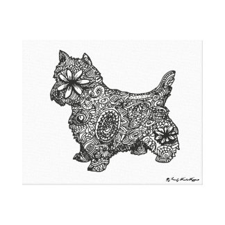 West highland white zentangle drawing canvas print
