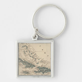 West India islands Silver-Colored Square Key Ring