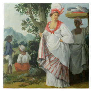 West Indian Creole Woman with her Black Servant, c Large Square Tile
