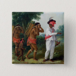 West Indian Man of Colour, Directing two Carib Wom 15 Cm Square Badge