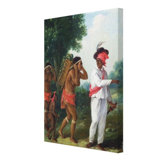 West Indian Man of Colour, Directing two Carib Wom Canvas Print
