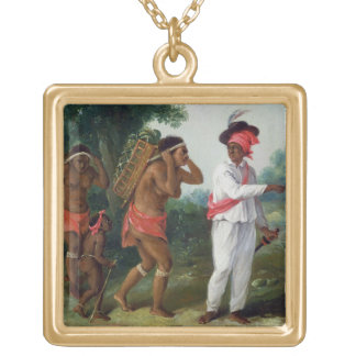 West Indian Man of Colour, Directing two Carib Wom Gold Plated Necklace