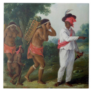 West Indian Man of Colour, Directing two Carib Wom Large Square Tile
