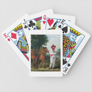 West Indian Man of Colour Directing two Carib Wom Card Decks
