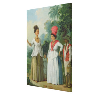 West Indian Women of Colour, with a Child and Blac Canvas Print