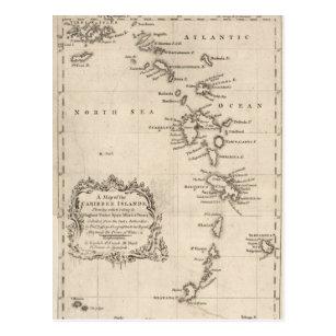 West Indies Antique Map Postcard