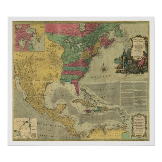 West Indies & North America Map - 1774 Poster