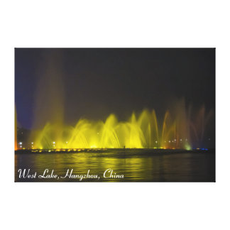 West Lake Colorful Light-Show Stretched Canvas Prints