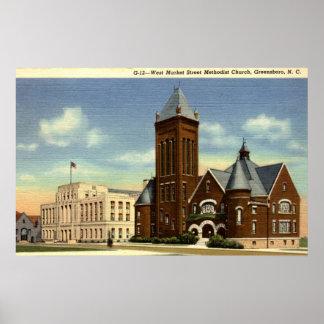West Market Street, Greensboro NC Vintage Poster