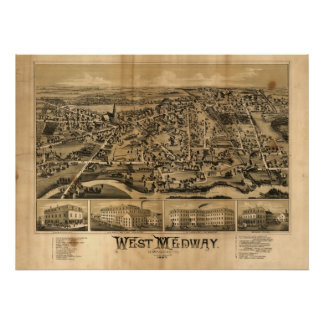 West Medway Mass. 1887 Antique Panoramic Map Poster
