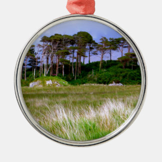 """""""West of Ireland Landscape"""" Silver-Colored Round Decoration"""