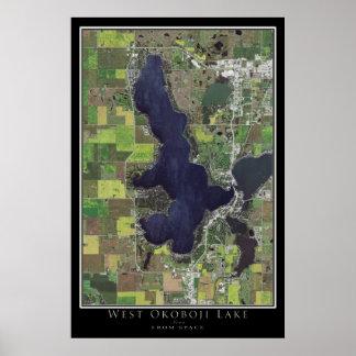 West Okoboji Lake Iowa From Space Satellite Map Poster