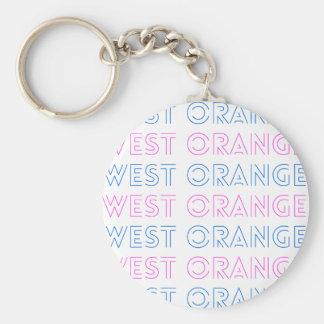 West Orange Retro Tile Design Basic Round Button Key Ring