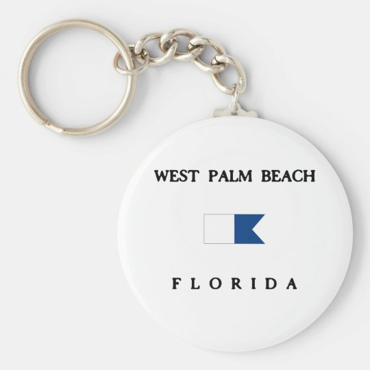 West Palm Beach Basic Round Button Key Ring