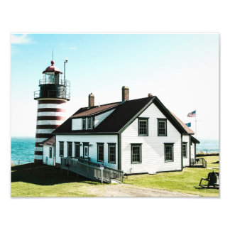 "West Quoddy Head Lighthouse (14"" x 11"") Photo Art"