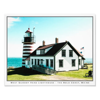 "West Quoddy Head Lighthouse (14"" x 11"") Photographic Print"