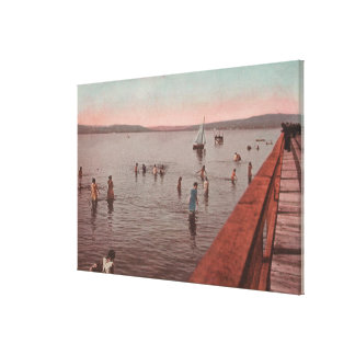 West Seattle, WA - Bathing at Coney Island Beach Canvas Print