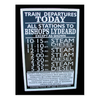 West Somerset Railway, Minehead station timetable Post Cards