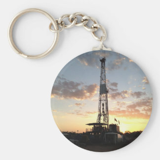 West Texas Drilling Rig Basic Round Button Key Ring