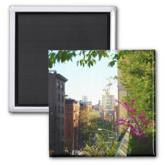 West Village View From The Highline, NYC Square Magnet